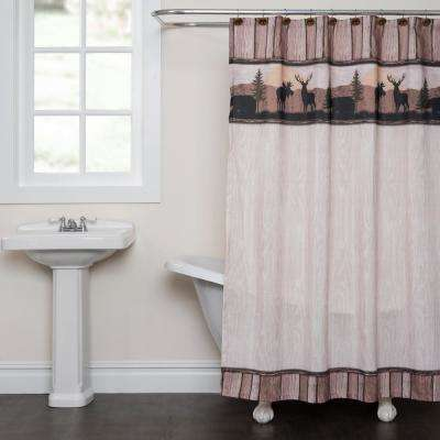 Silhouette Wildlife 72 in. Taupe Shower Curtain