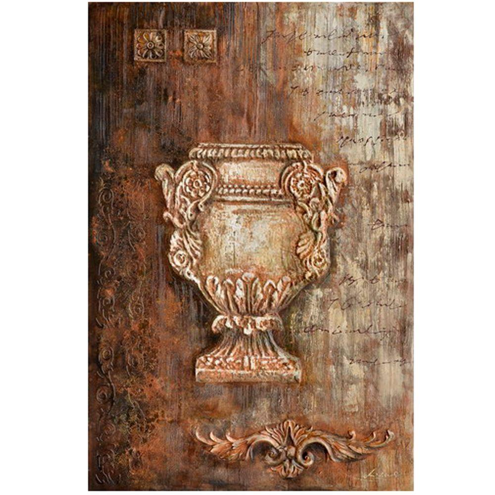 """Yosemite Home Decor 59 in. x 39 in. """"Samovar I"""" Hand Painted Canvas Wall Art"""