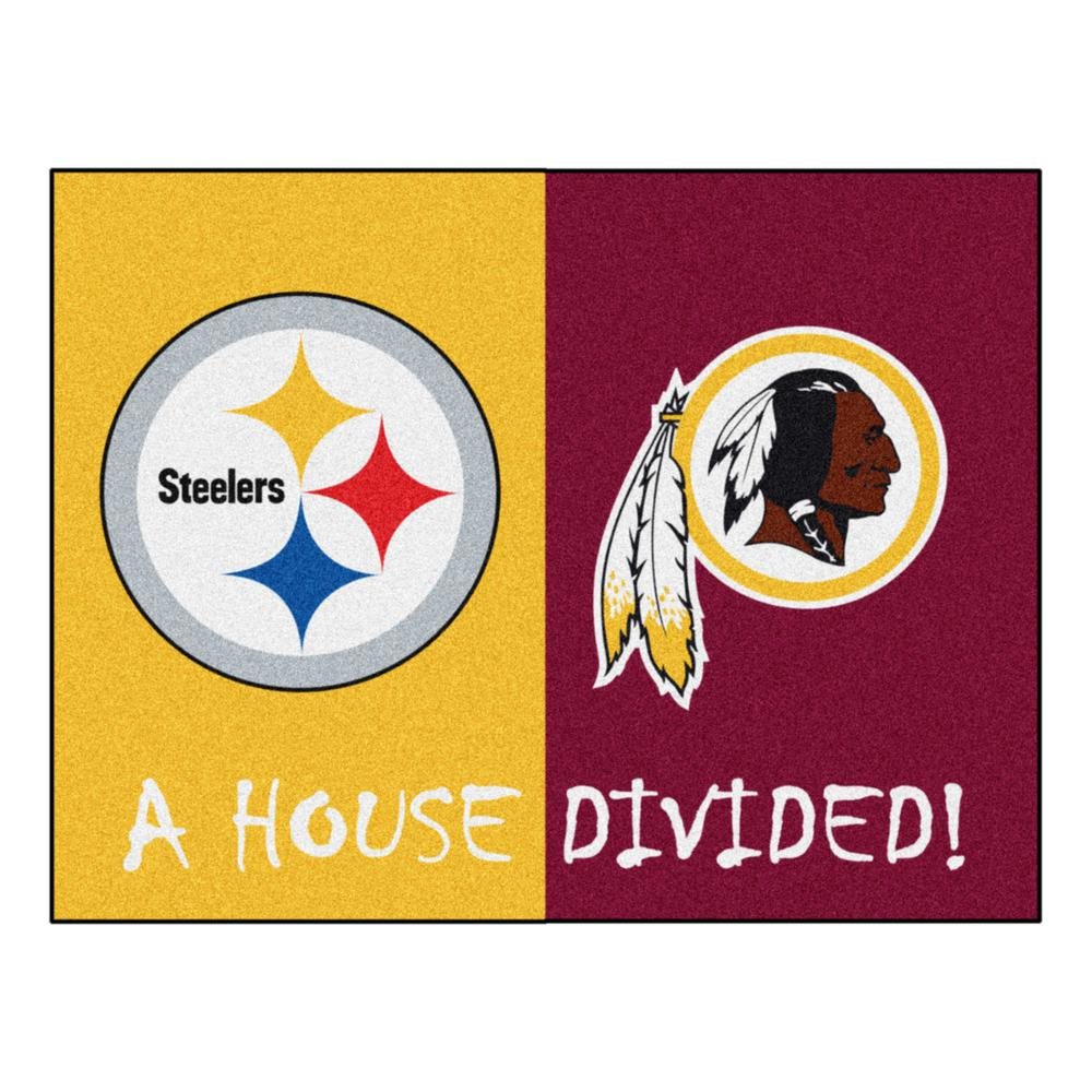 Fanmats Nfl House Divided Steelers Redskins 33 75 In