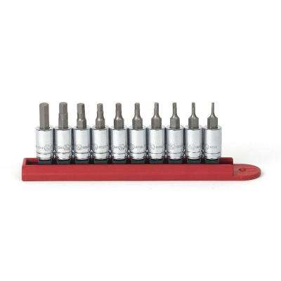 1/4 in. Drive SAE Hex Bit Socket Set (10-Piece)