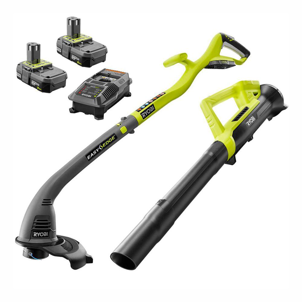 RYOBI Reconditioned ONE+ 18-Volt Cordless Lithium-Ion Trimmer/Blower Combo  Kit (2-Tool) with 2 Batteries and Chargers Included