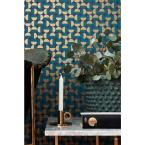 undefined 8 in. x 10 in. Vertigo Teal Geometric Wallpaper Sample