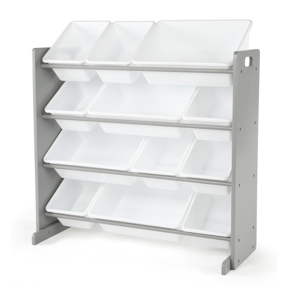 Inspire Collection Grey/White Kids Wood Toy Storage Organizer with 12-Plastic