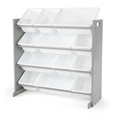 Inspire Collection Grey/White Kids Wood Toy Storage Organizer with 12-Plastic Bins