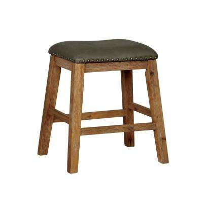 Weathered Natural Tone Leatherette Bar Stool Set Of 2