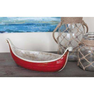 17 in. Large, 14 in. Small Nautical Ceramic Boats with Patina Accents (Set of 2)
