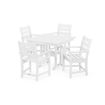 Grant Park White 5-Piece Plastic Arm Chair Outdoor Dining Set