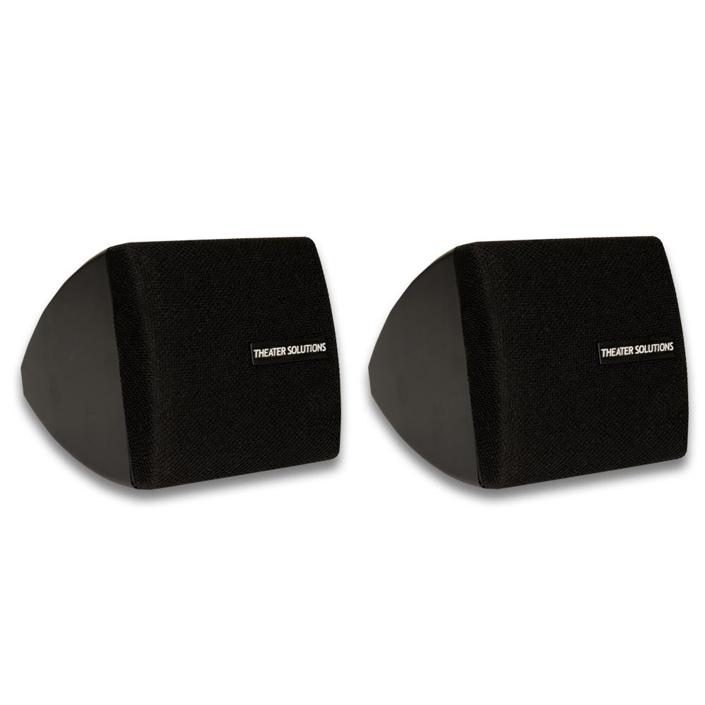 Mountable Indoor Speakers Black Bookshelf Pair These Theater Solutions Indoor Speakers are perfect for any occasion or application. They were designed with durability in mind, so there is no need to worry about wear-and-tear. They make great additions to any surround sound home theater, will fit onto any bookshelf, can be used with any stereo system and are great to use in bathrooms and kitchens. Each speaker can handle 200-Watt of power, and has a full range sound and functionality. Included mounting brackets allows hassle-free installation in any location. Color: Black.