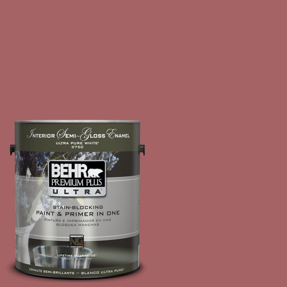 BEHR Premium Plus Ultra 1-gal. #UL100-12 Rose Marquee Interior Semi-Gloss Enamel Paint-DISCONTINUED