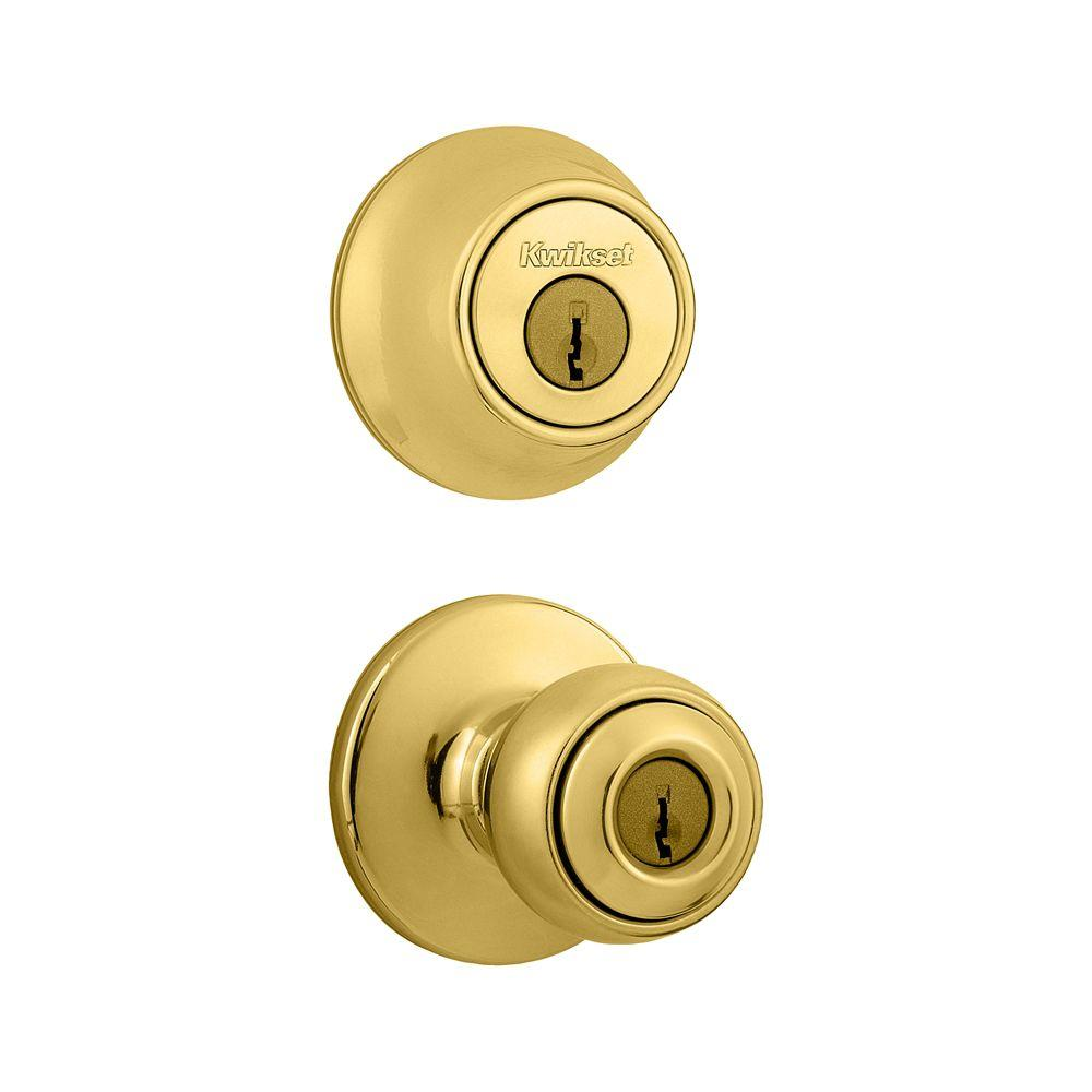 Polo Polished Brass Entry Knob and Single Cylinder Deadbolt Combo Pack