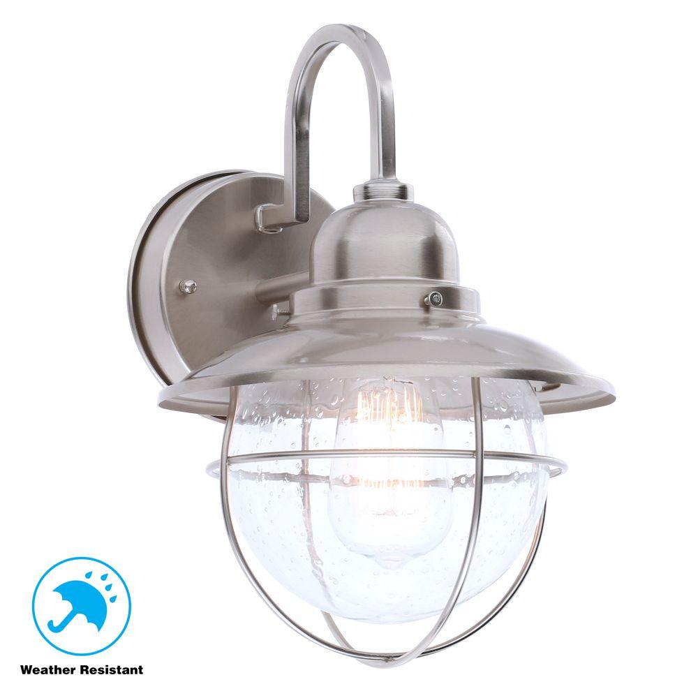 1-Light Brushed Nickel Outdoor Cottage Lantern