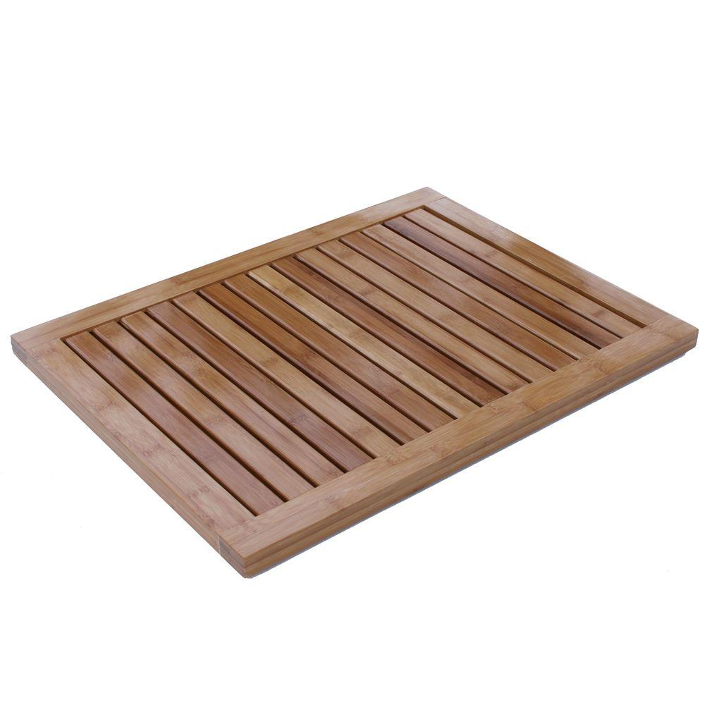 Oceanstar Natural 1 ft. 4.75 in. x 1 ft. 11.75 in. All Weather Bamboo Floor and Bath Mat