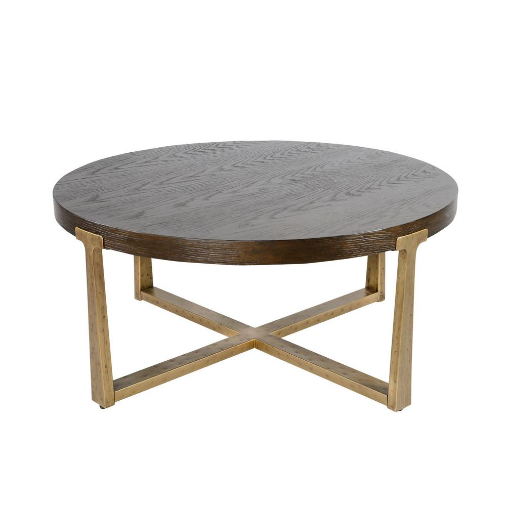 Lnc 36 In Gold Medium Round Wood Coffee Table With Cross Gold Legs Jbr3uyhd10006l7 The Home Depot