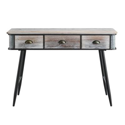 47 in. Rectangular Gray Wash/Black 3-Drawer Metal Writing Desk