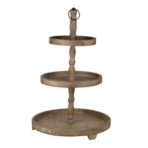 Woodruff Three-Tier Round Serving Weathered Natural Tray