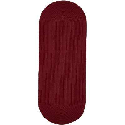 Texturized Solid Colonial Red Poly 2 ft. x 8 ft. Braided Runner Rug