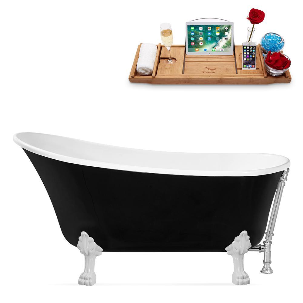 59 in. Acrylic Clawfoot Non-Whirlpool Bathtub in Black
