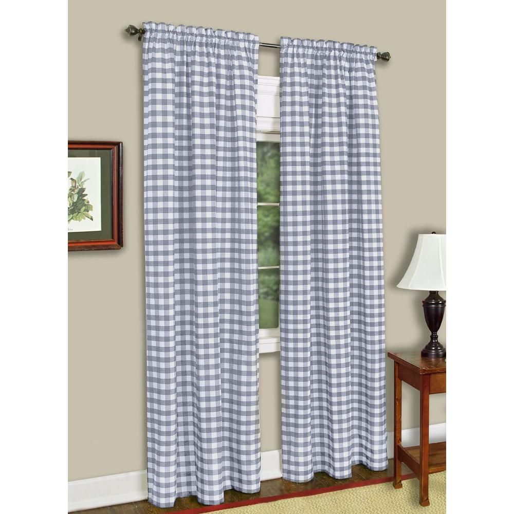Taupe Sheer Rod Pocket Window Curtain Panel: 63 L Plaid/Check Design One 1