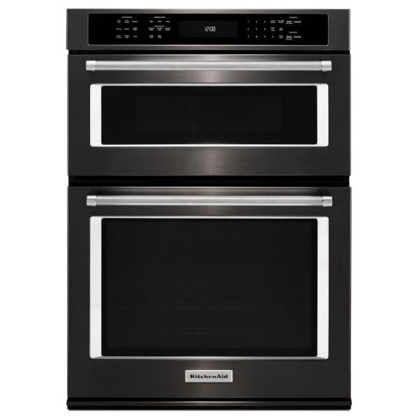 30 in. Electric Even-Heat True Convection Wall Oven with Built-In Microwave in Black Stainless