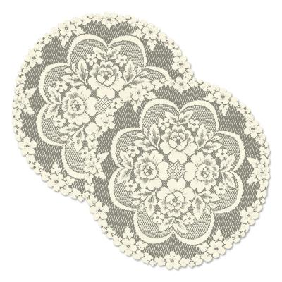 Victorian Rose 19 in. Ecru Round Lace Polyester Doily (Set of 2)