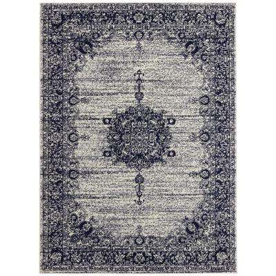 Jasmin Collection Ivory and Navy 7 ft. 10 in. x 9 ft. 10 in. Oriental Medallion Area Rug