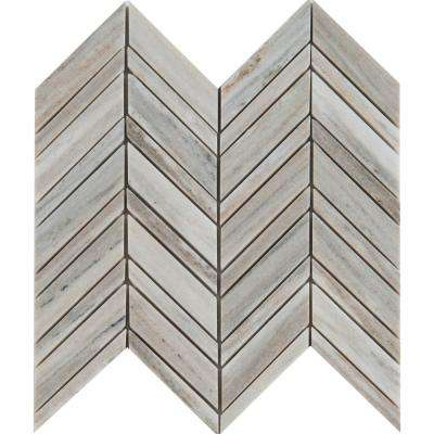 Palisandro Chevron 12 in. x 12 in. x 10 mm Polished Marble Mesh-Mounted Mosaic Tile (10 sq. ft. / case)