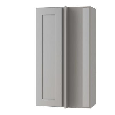 Tremont Assembled 27x36x12 in. Plywood Shaker Wall Blind Corner Kitchen Cabinet Soft Close Right in Painted Pearl Gray