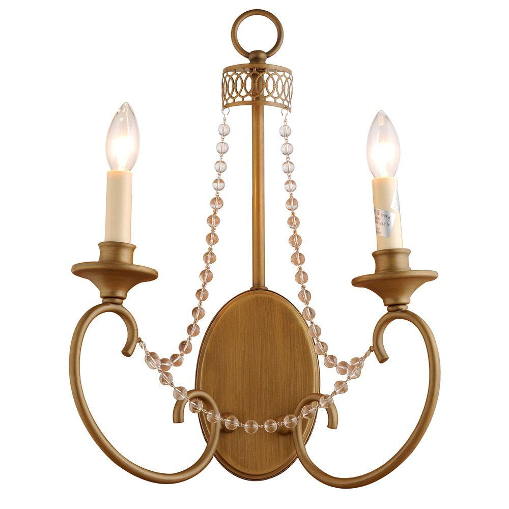 Hampton Bay Estelle 2-Light Champagne Sconce