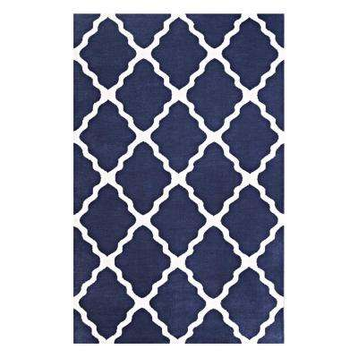 Marja Moroccan Trellis 8 ft. x 10 ft. Area Rug in Navy and Ivory