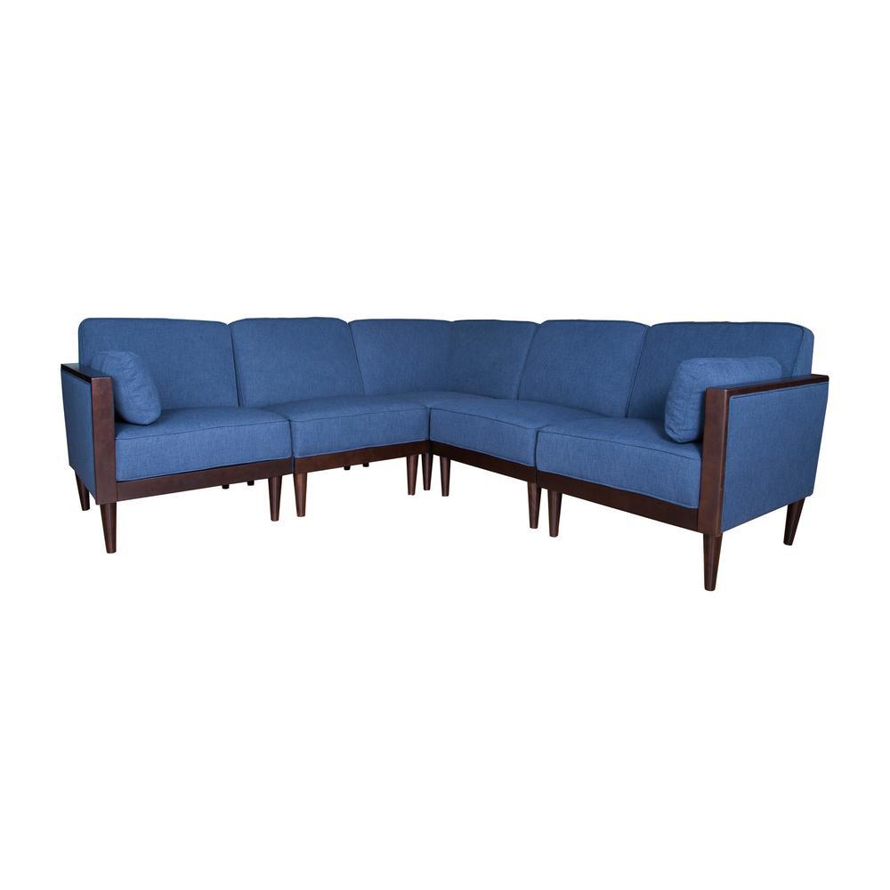 Pembroke Contemporary 5-Piece Navy Blue Fabric Sectional Sofa Set