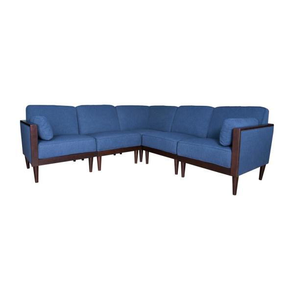 Noble House Pembroke Contemporary 5-Piece Navy Blue Fabric Sectional ...