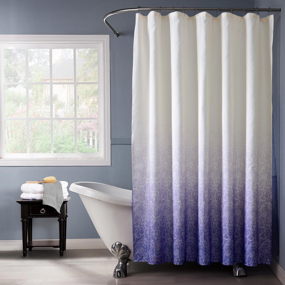 Lace Ombre 72 in. Purple Monochromatic Fabric Shower Curtain