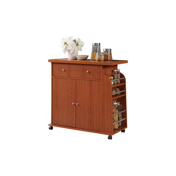 HODEDAH Kitchen Island Cherry with Spice Rack