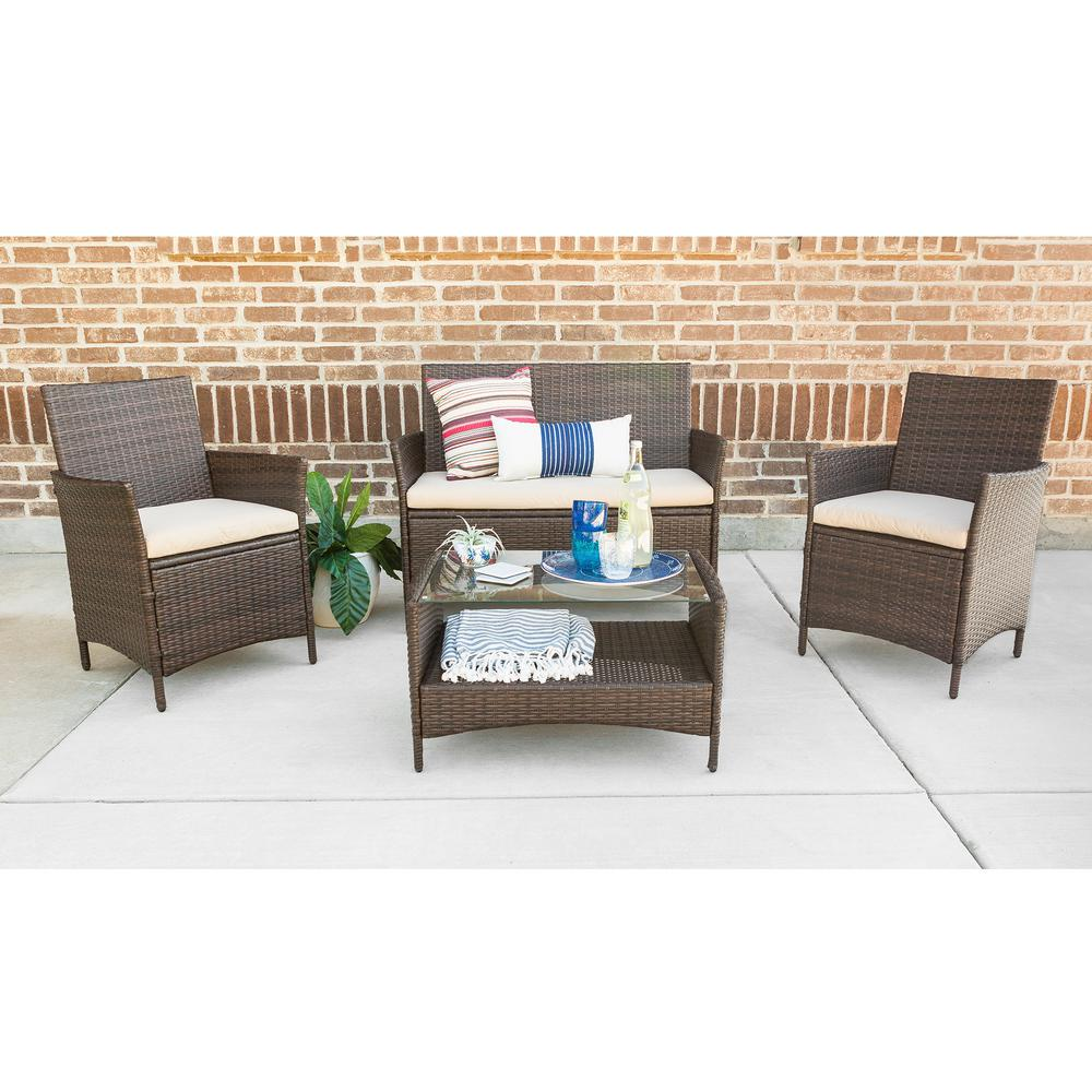 Walker Edison Furniture Company Brown 4 Piece Wicker Patio Conversation Set With White Cushions