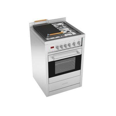 Gourmet 24 in. 2.5 cu. ft. Freestanding Electric Convection Oven Dual Fuel Range in Stainless with Cast Iron Griddle