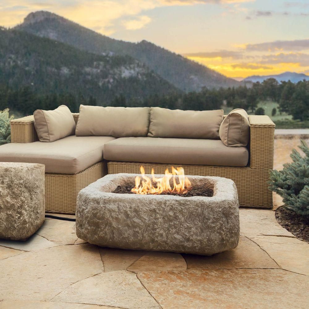 Square Propane Gas Fire Table In Chiseled Limestone