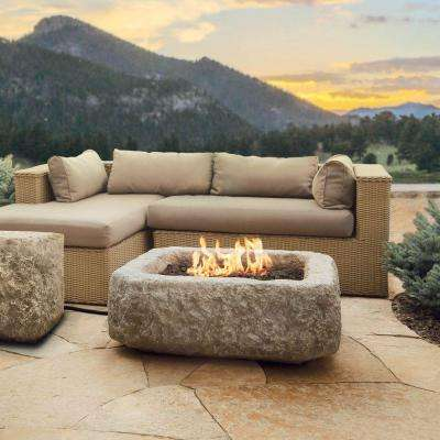 Antique Stone 37 in. Square Propane Gas Fire Table in Chiseled Limestone