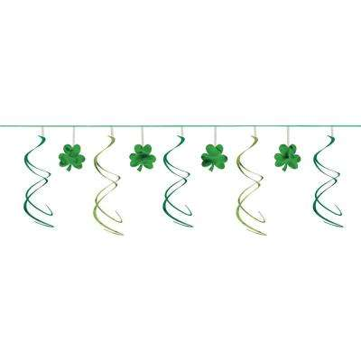23 in. x 12 ft. St. Patrick's Day Green Foil Shamrock Swirl Garland (4-Pack)