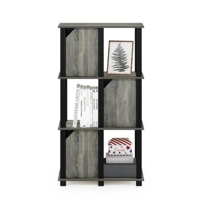 Brahms 43.8 in. French Oak Grey 4 Shelf Etagere Bookcase with 3 Doors