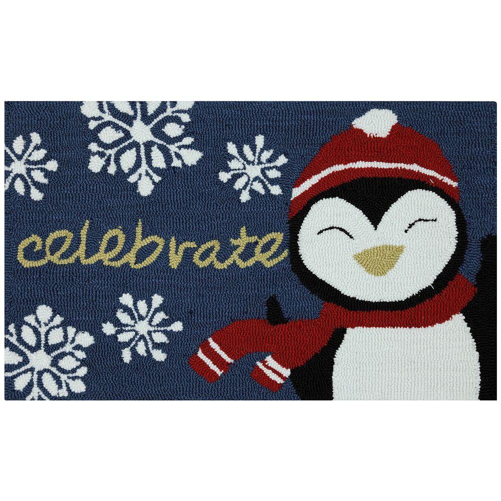 Mohawk Home Celebrate Penguin 17 in. x 29 in. Hand Hooked Door Mat