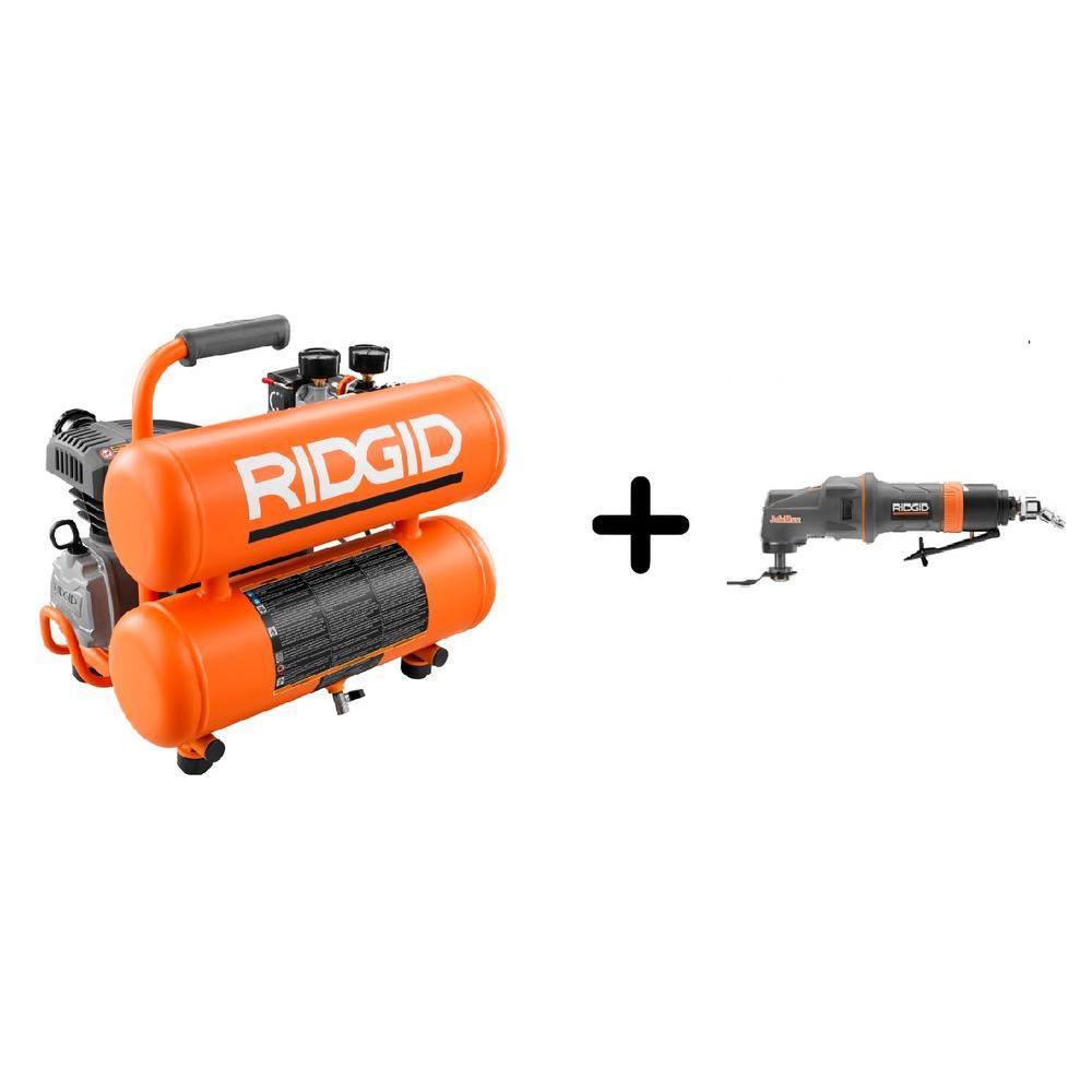 RIDGID 4 Gal. Twin Stack Air Compressor and Pneumatic JobMax Multi-Tool Starter Kit