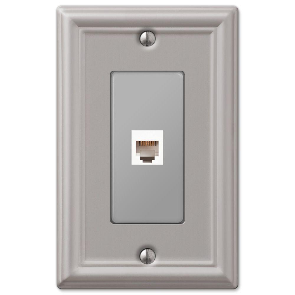 Ascher 1 Gang Phone Steel Wall Plate - Brushed Nickel