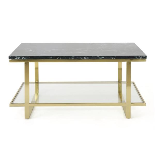 Mytch Modern Marble Coffee Table with Gold Stainless Steel Frame