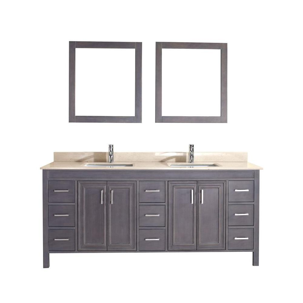 Studio Bathe Dawlish 75 in. Vanity in French Gray with Marble Vanity Top in Beige and Mirror