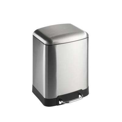 Studio 1.5 Gal. Fingerprint-Proof Easy Close Brushed Stainless Steel Step on Trash Can