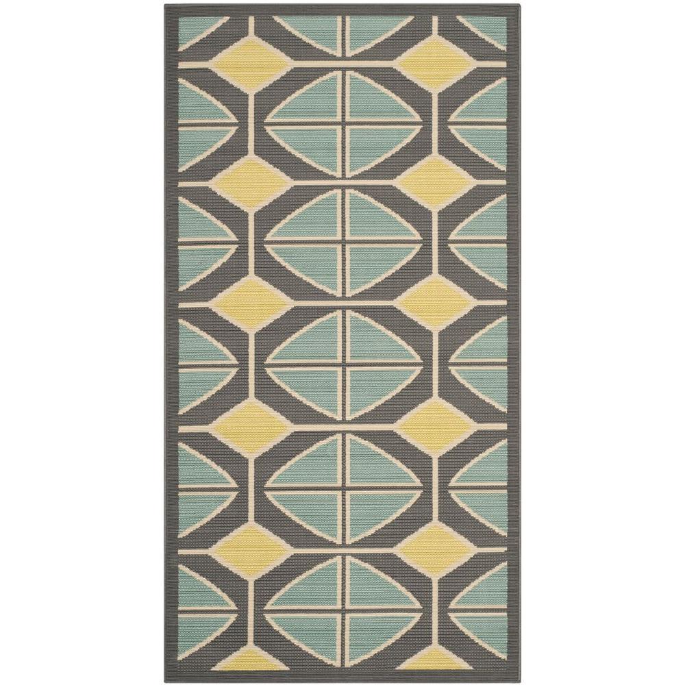 Safavieh Hampton Dark Grey/Light Blue 2 ft. 7 in. x 5 ft. Indoor/Outdoor Area Rug