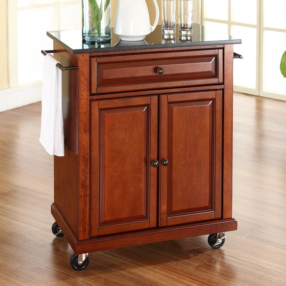Cherry Kitchen Cart With Black Granite Top