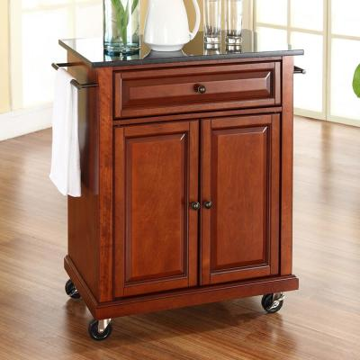 Rolling Cherry Kitchen Cart with Black Granite Top