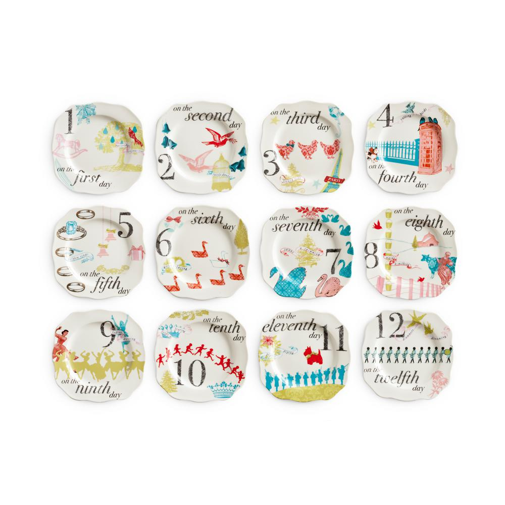 rosanna 12 days of christmas white appetizer plates set of 12