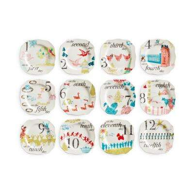 12 Days of Christmas White Appetizer Plates (Set of 12)